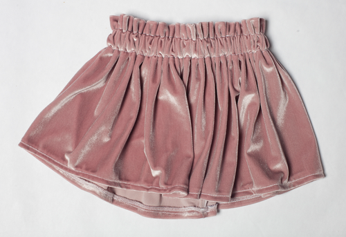 velvet mini skirt in dusty rose