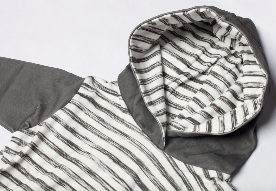 organic long sleeve hoodie in charcoal/grunge stripe