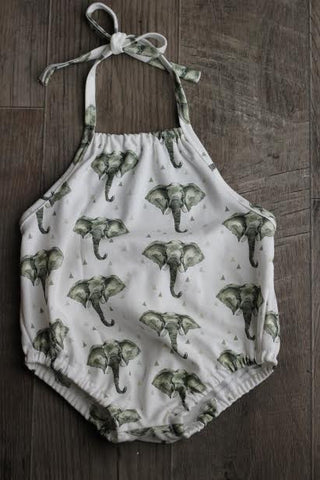 bubble romper in organic elephants