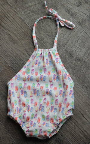 bubble romper in organic popsicles