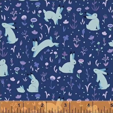 Moonlight Meadow in Midnight: Luna Sol by Felice Regina for Windham Fabrics