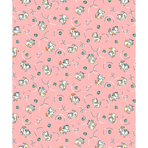 Frisky Kittens in Pink by Kim's Cause for Maywood Studio - Zoey and Bean Fabrics