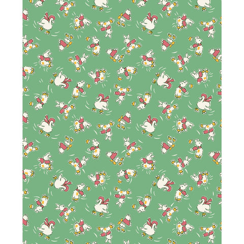 Animals on Rollerskates in Green by Kim's Cause for Maywood Studio - Zoey and Bean Fabrics