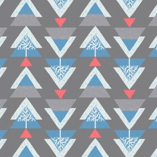 Ski Trees Grey: Snofall by Rae Ritchie - Zoey and Bean Fabrics