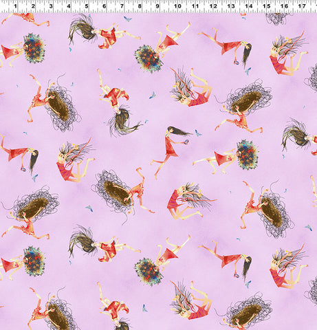 Purple Toss: Tree Faeries by Masha D'Yans for Clothworks Fabric