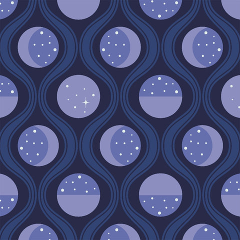 Lunar Tide in Midnight: Luna Sol by Felice Regina for Windham Fabrics