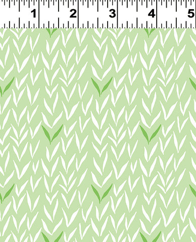 Pasture on Mint: Woodland Gathering Organic by Betsy Olms for Clothworks Fabric