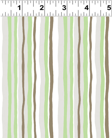 Mint Stripes: Woodland Gathering Organic by Betsy Olms for Clothworks Fabric
