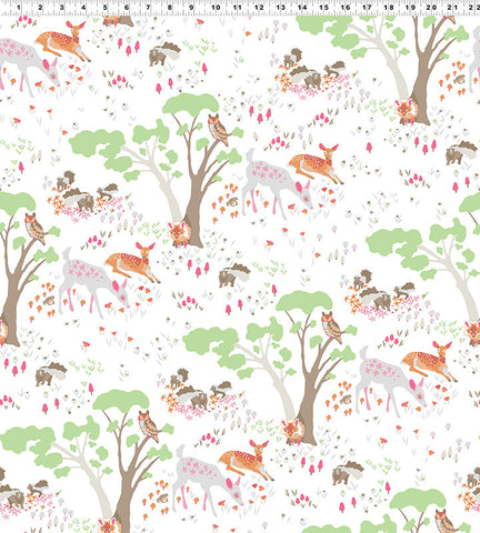 Meadow on White with Mint: Woodland Gathering Organic by Betsy Olms for Clothworks Fabric