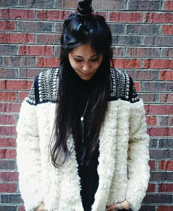 White Fur Jacket with Handmade Beading - Small, Med or Large