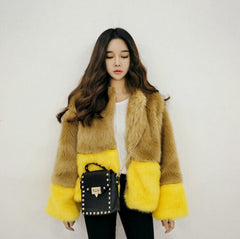 Blocks Fur Jacket - 2 Color Options