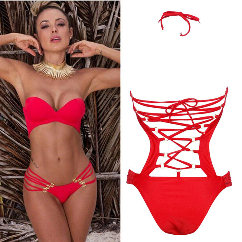 Push-up One Piece Swimsuit Back Bandage 2 Colors - Red and Black