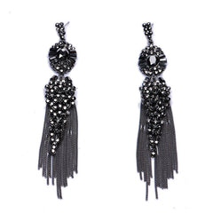 Crystal Stud Earrings Black