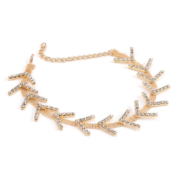 Arrow Delicate Choker - Gold or Silver Finish