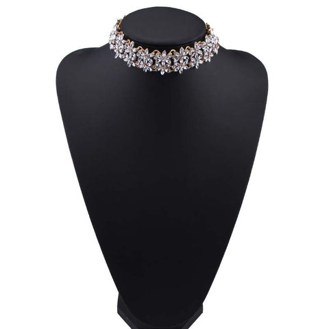 Choker - Flower - Clear Crystals