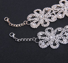 Kylie Flower Crystal Choker Silver Finish