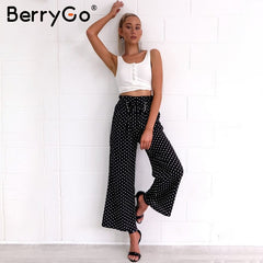 Polka Dot Wide Leg Cotton and Polyester Street Wear Pant - Black or White Polka Dot - Only $30 with the code MINE at checkout!