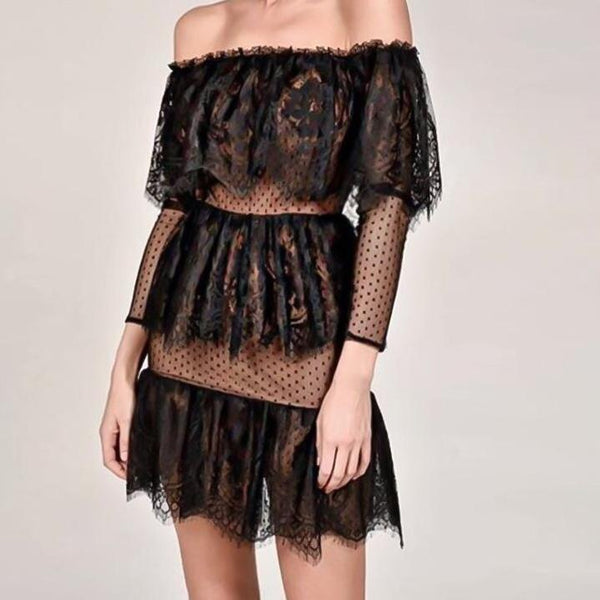 Glamorous Ruffled Lace Transparent Long Sleeve Dress - Lace Choker Included - Black & Nude Long Sleeve Transparent Mini Dress - White Lace Mini Dress