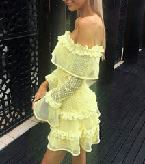 Chic Off the Shoulder Ruffled Dress - Black White or Yellow Ruffled Dress