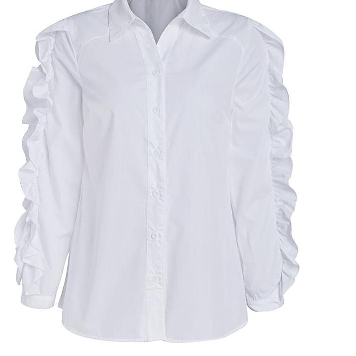 e6061825397 Ruffled White Long Sleeve Cotton Womans Work Shirt - Must Have in the Closet