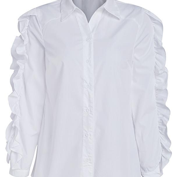 Ruffled White Long Sleeve Cotton Womans Work Shirt - Must Have in the Closet