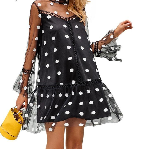 Mesh Polka Dot Mini Dress - Black or White Polka Dot Dress