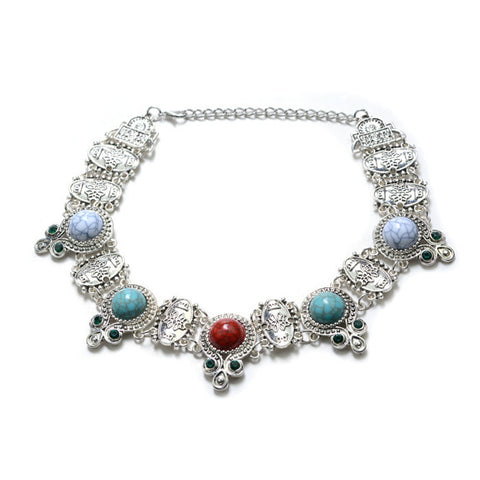 Boho Choker Necklace - 3 Color Options - Antique Silver