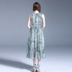 Printed Chiffon Dress - Palms Chiffon Dress
