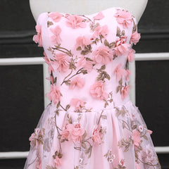 Floral Couture Pink Transparent Gown - Pink Flower Ball Gown
