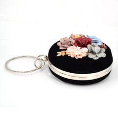 Circular Velvet Flower Evening Bag