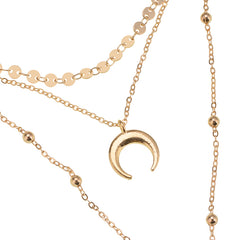 Crescent Moon Stacked Necklace SET - Gold Finish - Includes Crescent Earrings - SET