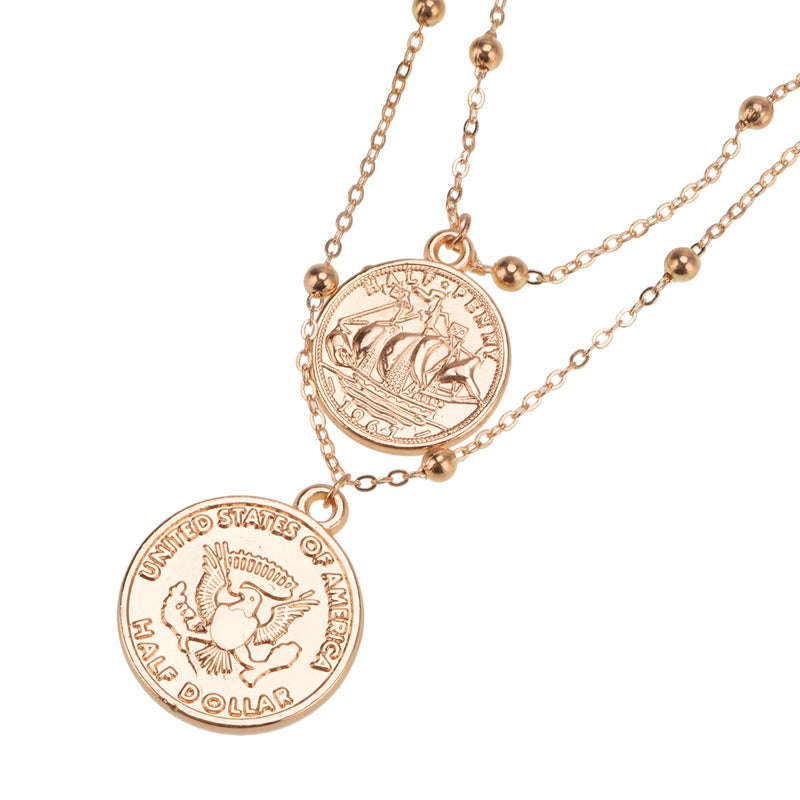 Half Dollar Delicate Gold Necklace – Mirina Collections