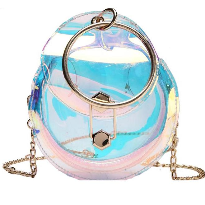 Transparent or Multi Color Transparent Round Tote