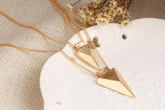 Kimmie Layered Necklace - Stacked Gold Arrow Necklace - Gold Finish Pendant Necklace