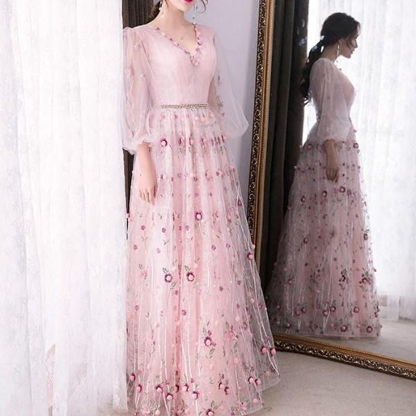 4a69faad99b2 Sweet Pink and Floral Day Gown - Transparent Ruffled Sleeves with beautiful  flower details