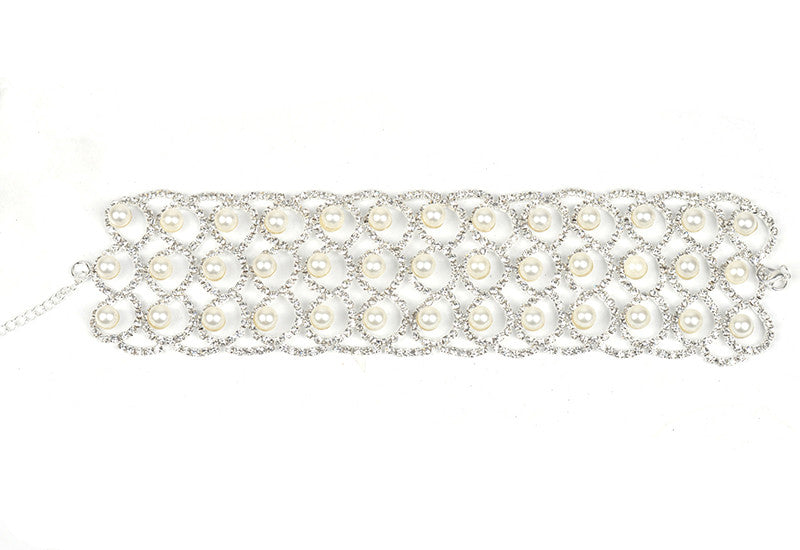 Pearl and Crystal Choker - Gold or Silver Finish