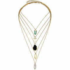 Natural Gem Delicate Layered Necklace - Gold Finish