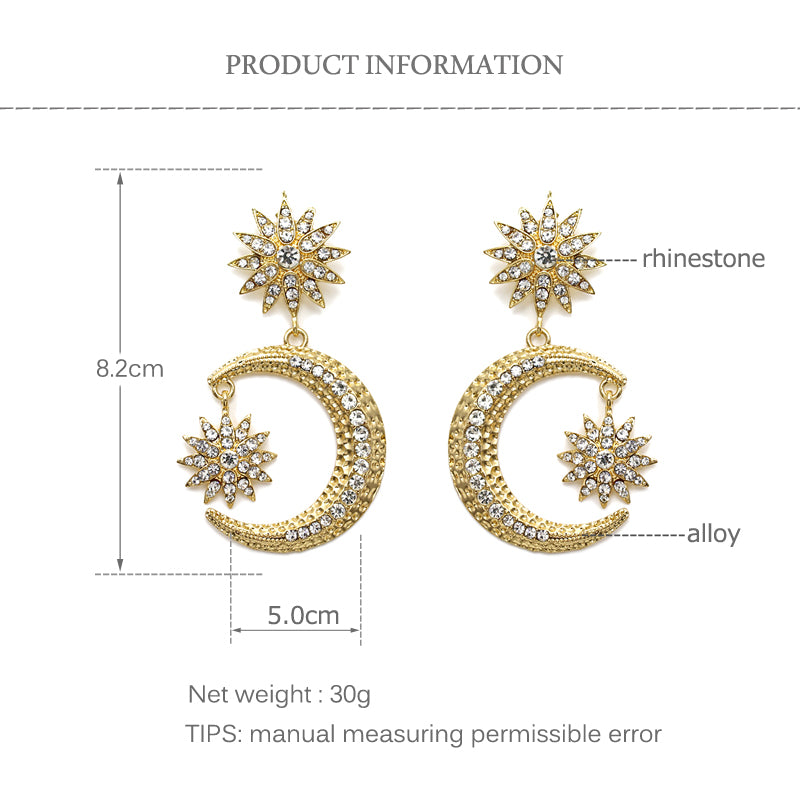 Moon Crescent Statement Earrings - Gold or Silver Finish