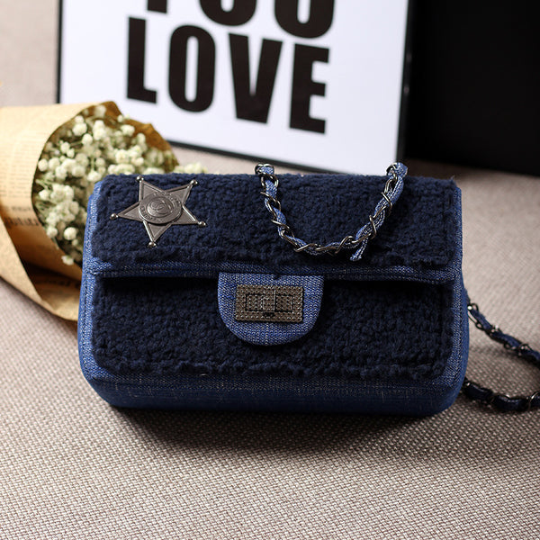 Denim Plush Handbag - Blue, Black or Cream