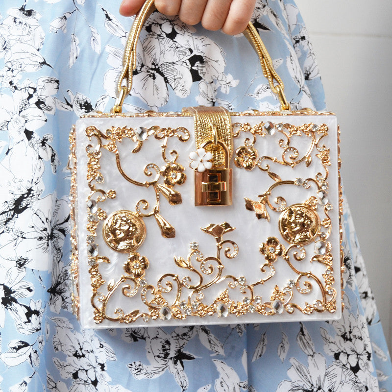 Floral Detail Clutch Handbag - White with Gold Details