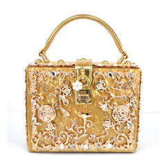 Floral Detail Handbag - Gold with Gold Details