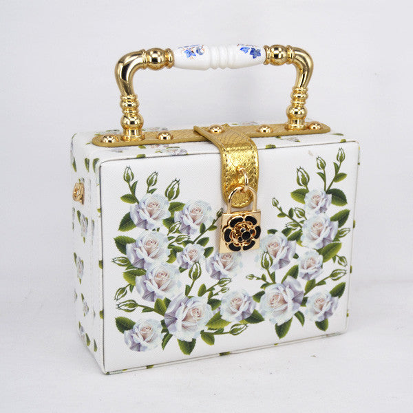Hand Painted Floral Handbag - White