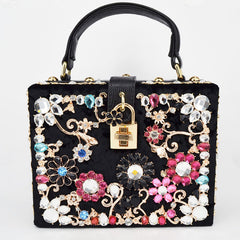 Crystal Handbag - Floral Details with Black and Gold