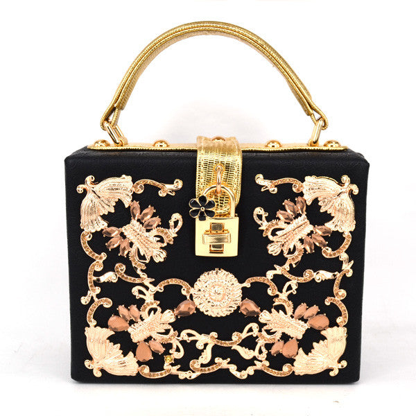 Golden Lady Handbag - Black with Gold Details