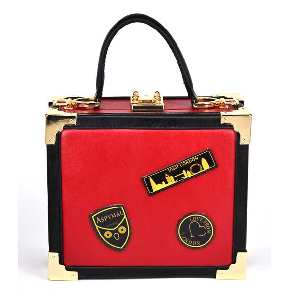 Red Stitched Handbag - Red with Black and Gold Details