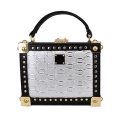 Silver Handbag with Black and Gold Details