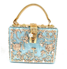 Floral Detailed Handbag - Mirina Blue with Gold Details