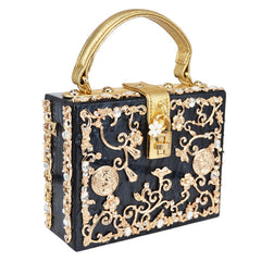 Floral Detailed Handbag - Black with Gold Details