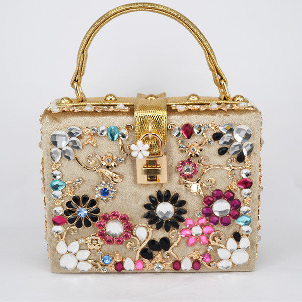 Crystal Handbag - Champagne with Floral Details