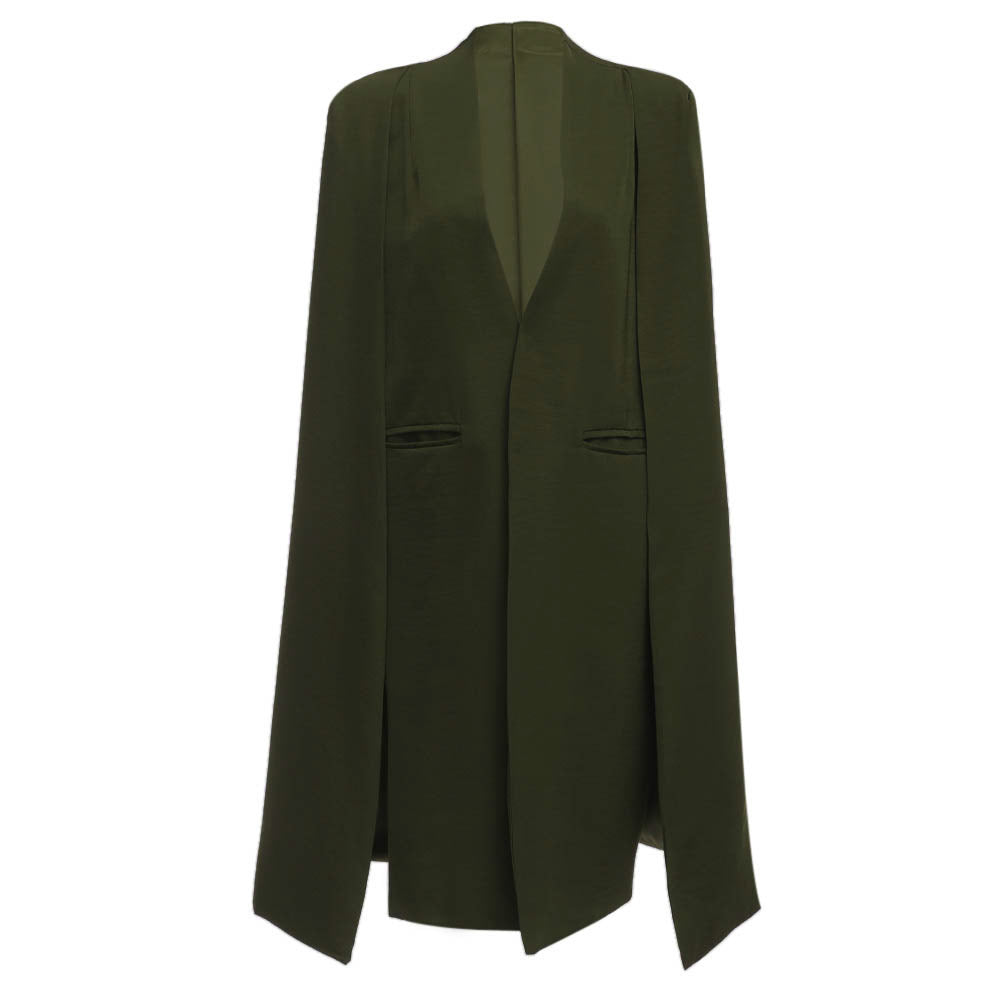Open Arms Trench Coat - Maroon, Olive and Black